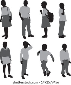 silhouette of poor black african school children from rural poverty areas