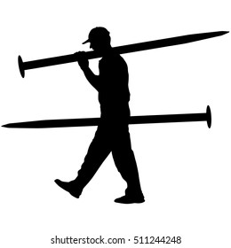 Silhouette Porter carrying the large nail in his hands, vector illustration.