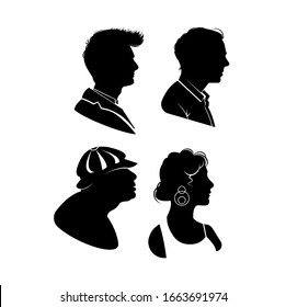silhouette portrait person vector isolated set. vector men and women avatar profile. Man and woman profile head silhouettes. face head vector avatar isolated set. user icons vector isolated set.
