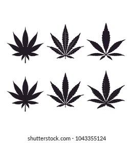Silhouette of Pot / Cannabis leaves for CBD / THC logo design