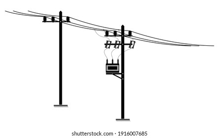 The silhouette of power electrical line and distribution transformer installed on the pole, on white background.