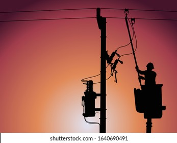 Silhouette of power lineman stand on bucket truck and closing a single phase transformer on energized high-voltage electric power lines.