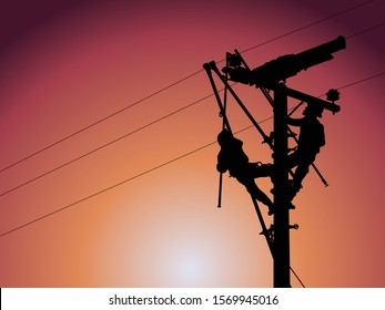 The silhouette of power lineman use insulated tool to replacement line post insulator on energized high-voltage
