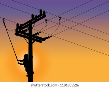 Silhouette power linesman climb the pole and using clamp stick grip all type (isolated tool) closing a circuit. It's a dangerous job. Must be trained.