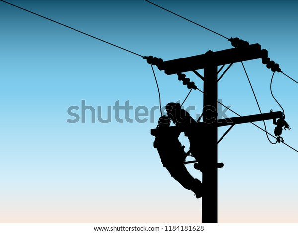 Silhouette Power Linesman Climb Pole Replace Stock Vector