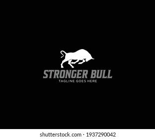 Silhouette Powerful Running Bull Logo Design