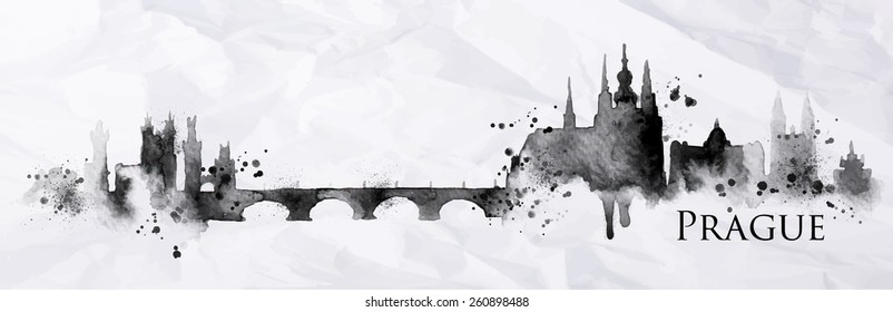 Silhouette Prague city painted with splashes of ink drops streaks landmarks drawing in black ink on crumpled paper