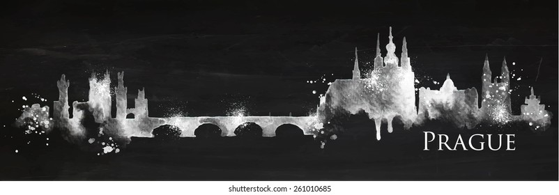 Silhouette Prague city with splashes drops and streaks landmarks drawing with chalk on blackboard