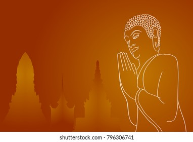Silhouette of pray Buddha and temples on orange background. Vector illustration. Indian, Buddhism, Spiritual concept