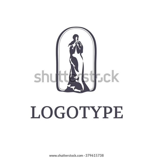 Silhouette Praying Woman Our Lady Logo Stock Vector (Royalty Free