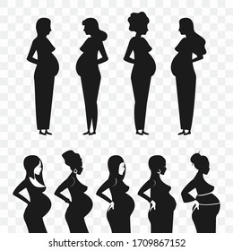 Silhouette of a pregnant woman isolated on a transparent background.
