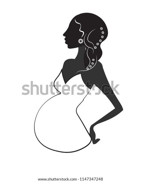 silhouette of the pregnant woman, in a white dress