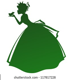 silhouette of a princess kissing a frog (vector available in my gallery)