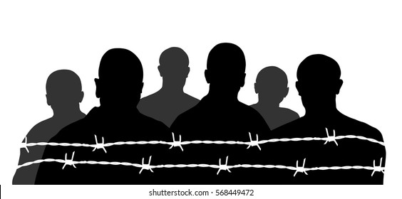 silhouette prisoner vector.barbed wire. black and white