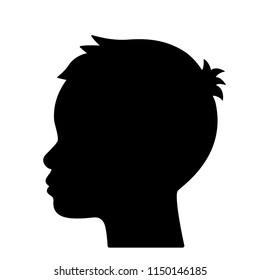 Silhouette of a profile of a child's head. flat vector illustration isolated on white background