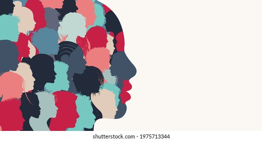 Silhouette profile group of men and women of diverse culture. Diversity multi-ethnic and multiracial people. Concept of racial equality and anti-racism. Multicultural. Banner copy space