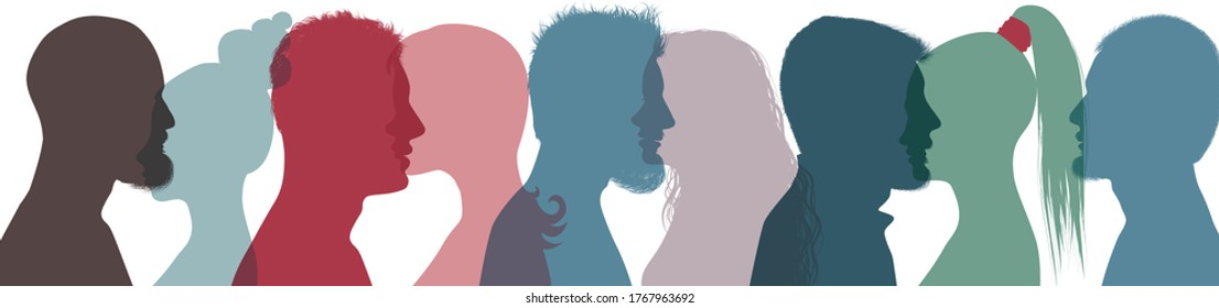 Silhouette profile group of people diversity. Community avatar. Connection between brethren. Concept club. Communication colleagues. Communicate and swap acquaintance. Population