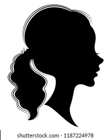 Silhouette of a profile of a sweet lady's head. A girl shows a female tail-hairstyle on medium and long hair. Suitable for logo, advertising. Vector illustration.