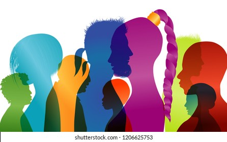 Silhouette profiles of multiracial people. Group of people of different ages and nationalities. Intercontinental dialogue. Multiple exposure vector