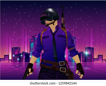 Silhouette of PUBG player. in uniform, playerunknown's battleground. Hemlet 3 level and logo game PUBG. Vector illustration logo - Vector