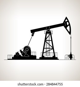 Silhouette Pump Jack or Oil Pump, also Called Oil Horse,  Pumping Unit, Big Texan ,  Vector Illustration