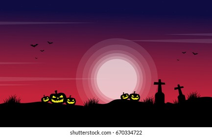 Silhouette of pumpkin in the grave scenery for Halloween vector