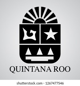 Silhouette of Quintana Roo Coat of Arms. Mexican State. Vector illustration