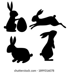 Silhouette of rabbit. Easter Bunnies. Set of rabbits. Vector illustration isolated on a white background.