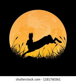 Silhouette of rabbit jumping over grass field with full moon background, vector illustration