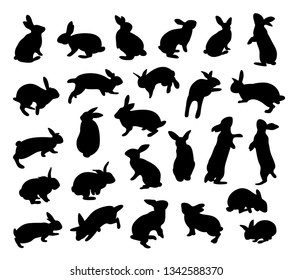 Silhouette rabbit set. Animal flat icon. Vector illustration isolated on white background.