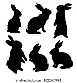Silhouette rabbit, vector illustration