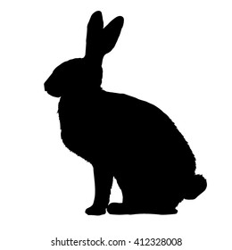 silhouette rabbit - vector illustration