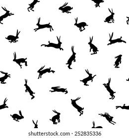 silhouette rabbits pattern