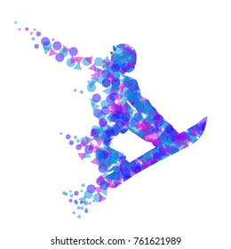 Silhouette of a racing snowboarder in a jump. Vector illustration.
