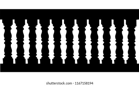 Silhouette of a railing with balusters