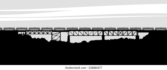 Silhouette of the railway bridge in Parry Sound, Ontario, Canada.