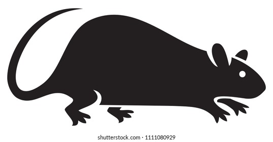 silhouette of rat vector illustration