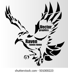 silhouette of a raven with text
