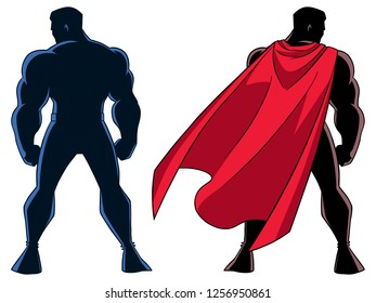 Silhouette rear view of powerful superhero standing ready for action against white background with copy space and in 2 versions.