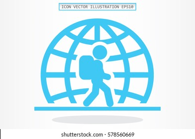 Silhouette refugee walking  icon vector illustration eps10. Isolated badge immigrant flat design for website or app - stock graphics.
