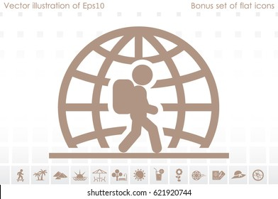 Silhouette refugee walking  icon vector illustration eps10. Isolated badge immigrant flat design for website or app - stock graphics