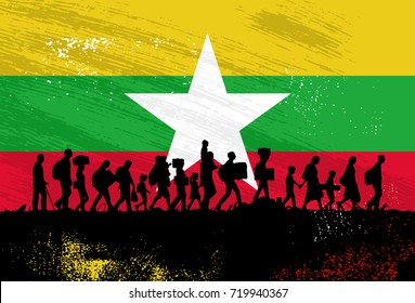 Silhouette of refugees people walking with flag of Myanmar as a background,Vector