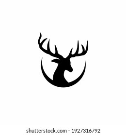 silhouette of reindeer logo. Vector illustration