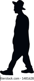 Silhouette of a religious Jew in a hat going to the synagogue. A Jew in a traditional costume looks forward. Hasid in and hat. Isolated vector illustration Black on white.