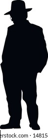 Silhouette of a religious Jew in Jerusalem. Pensive Jew in a traditional costume. Hasid in a long coat and hat. Isolated vector illustration Black on white.