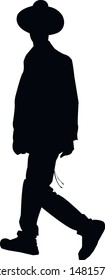 Silhouette of a religious Jew in Jerusalem. Jew in a traditional costume. Hasid with in a long frock coat and hat. Isolated vector illustration Black on white.