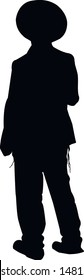 Silhouette of a religious Jew in Jerusalem. A Jew in a traditional costume looks forward. Hasid in and hat. Isolated vector illustration Black on white.
