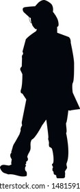 Silhouette of a religious Jew near the synagogue. A Jew in a traditional costume looks forward. Hasid in and hat. Isolated vector illustration Black on white.