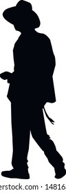 Silhouette of a religious Jew walking across the square. Jew in a traditional costume. Hasid in and hat. Isolated vector illustration Black on white.