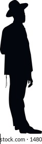 Silhouette of a religious Jewish man in a hat. Jew in a traditional costume. Hasid with sidelocks in a long frock coat and hat. Isolated vector illustration. Black on white.